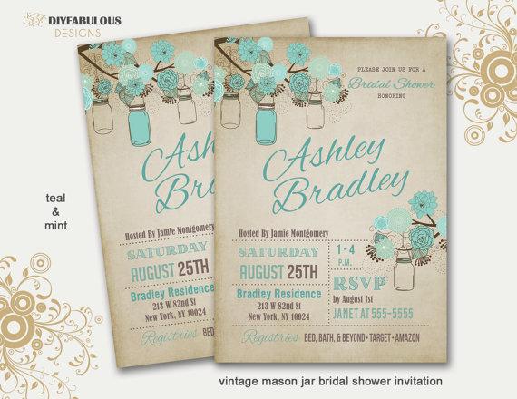 زفاف - Rustic Bridal Shower Invitation Mason Jar Bridal Shower Invitation Country Bridal Shower Printable Bridal Shower Invitation Vintage