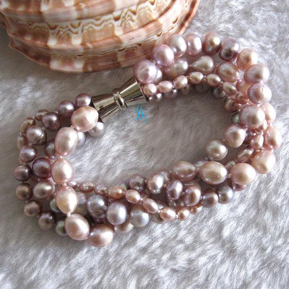 Mariage - Pearl Bracelet - 8 inches 4-9mm Lavender 4Row Freshwater Pearl Bracelet - Free shipping
