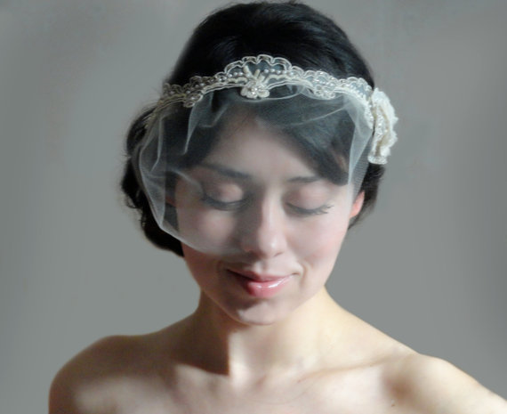 Wedding - Bridal headband vintage beaded lace with pearls and crystal beads with detachable mini tulle veil - ESPERANZA