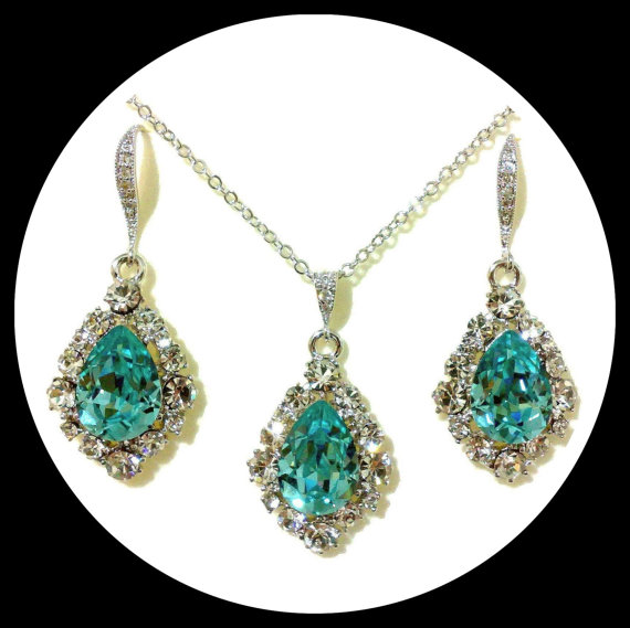 Свадьба - Something Blue Turquoise Bridal Jewelry Set, December Birthstone Teardrop Earrings, Swarovski Crystal Necklace, BIJOUX
