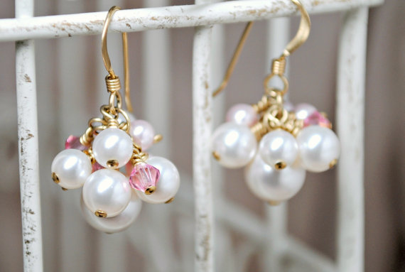 Mariage - Cluster Bridesmaids Wedding Earrings, White Pink Swarovski Pearls, Swarovski Crystals, Gold Earrings, Bridal Earrings, Wedding Jewelry