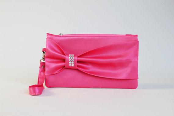 Mariage - PROMOTIONAL SALE -Fuchsia bow wristelt clutch,bridesmaid gift ,wedding gift ,make up bag,zipper pouch,cosmetic bag ,zipper pouch