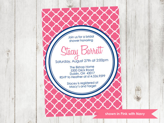 Hochzeit - Bridal Shower Invitation - Printable Quatrefoil Shower Invitation - Colors Customizable