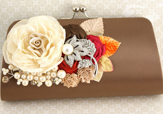 Mariage - Clutch, Wedding, Handbag, Purse, Mother of the bride, Brown, Red, Orange, Raspberry, Champagne and Chocolate, Fall, with Brooch and Pearls