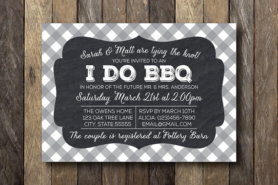 I Do Bbq Engagement Party Printable Invitation Wedding Shower Barbecue