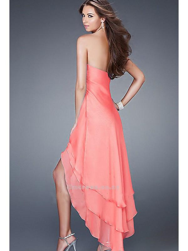 Hochzeit - A-Line V-Neck Chiffon High Low Length Long Prom DressSKU: PDLF-15033