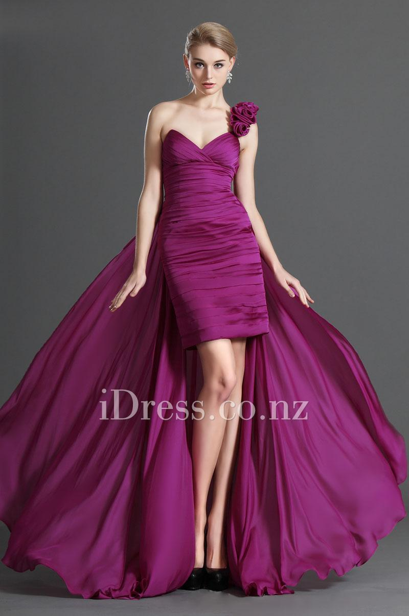 Magenta Flower One Shoulder Chiffon Long Prom Dress #2300584 - Weddbook