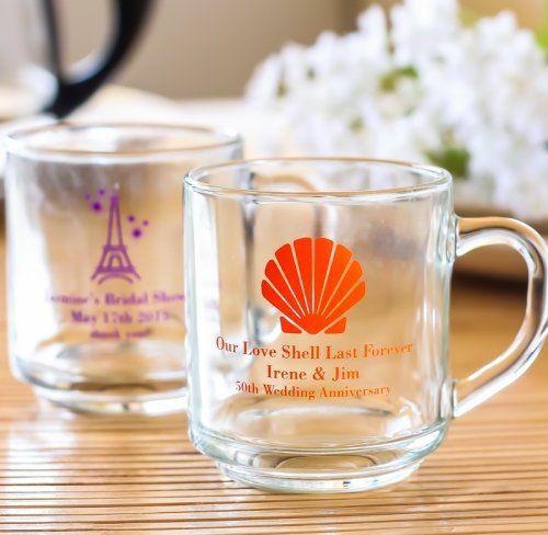 Wedding - Personalized 10 Oz. Glass Mugs With Handle