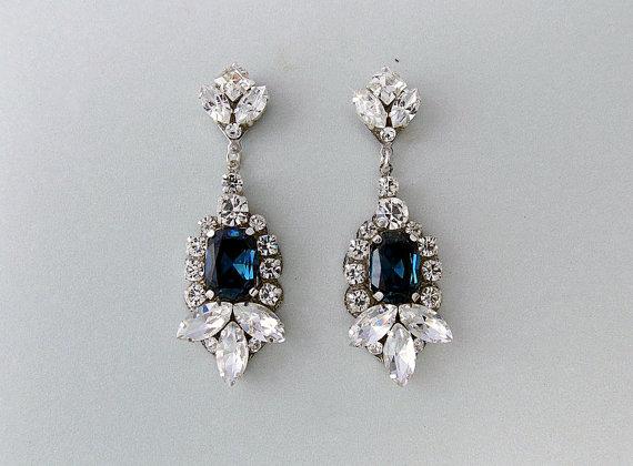 Wedding Earrings Gatsby Shire Vintage Style Swarovski Crystals Art Deco Bridal Rosamund