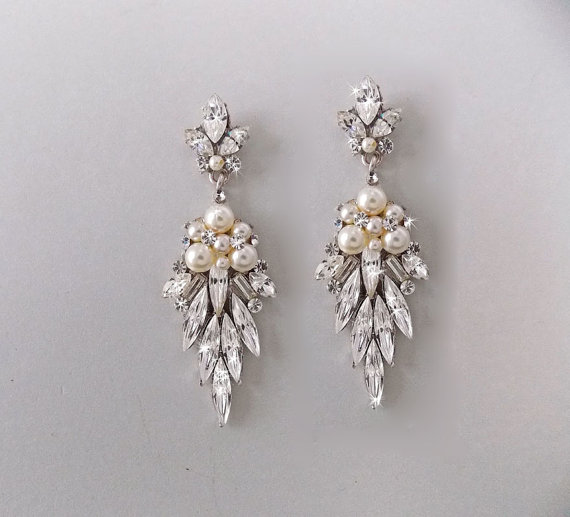 Wedding Earrings Bridal Chandelier Swarovski Crystals Pearl Jewelry Vintage Earring Keira