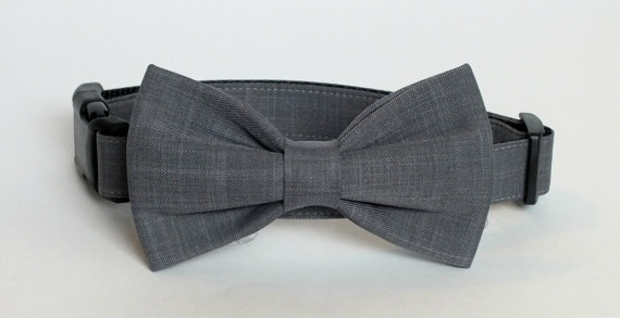 Свадьба - Gray Suiting fabric bow tie for dog/cat collars, wedding