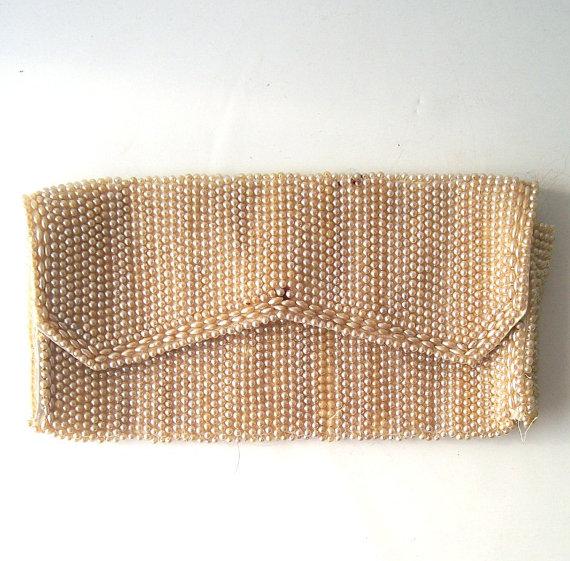 Wedding - vintage beaded pearl purse clutch satin lining cream off white handbag formal accessories accessory bridal wedding bride bridesmaid