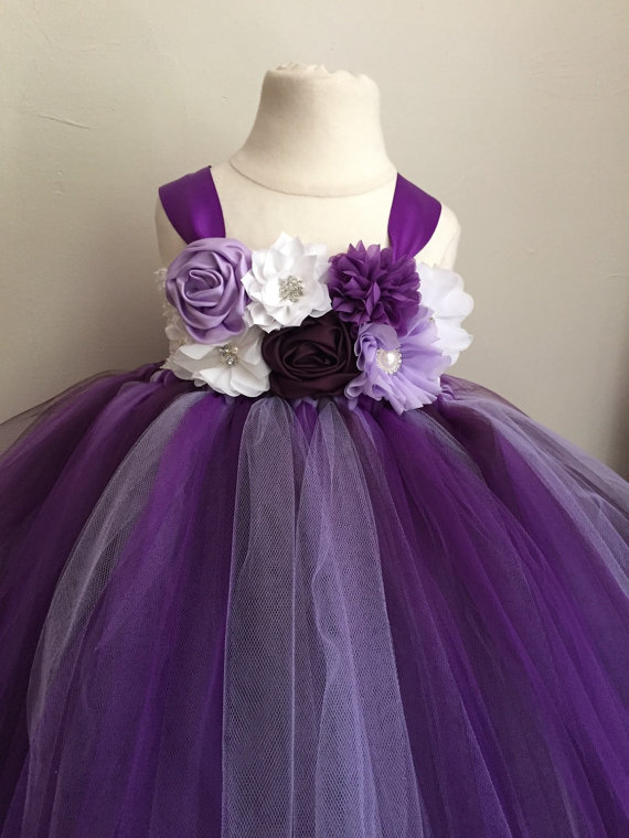 Purple lavender and plum tulle flower girl dress girls for Little flower girl wedding dresses