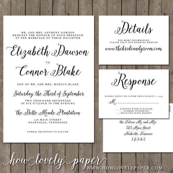زفاف - Printable Wedding Invitation Suite - the Georgina Collection