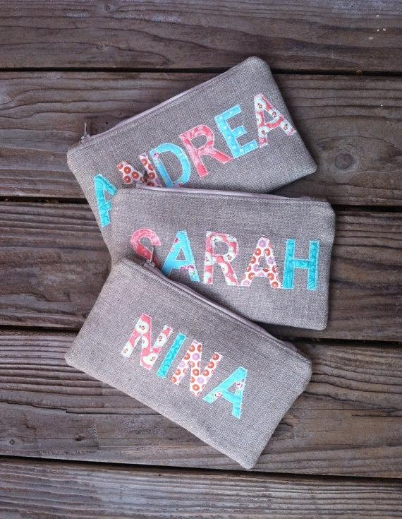 Свадьба - Personalized Burlap Clutch - Aqua and Coral - Turquoise and Peach - Country Wedding