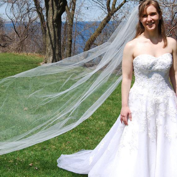 "Свадьба - Cathedral length wedding veil; 120"" single tier long wedding veil standard veil with edging options - long veil with train"