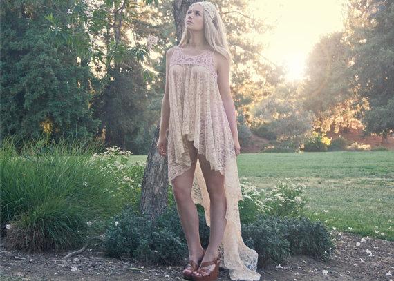 Свадьба - Hand-Made Sheer Bohemian Lace Crochet Bridal Tunic Dress