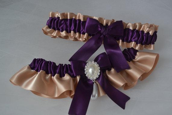 Свадьба - Wedding Garter, Bridal Garter Set, Plum Garter Set With Tan Satin, Wedding Garter Belt, Garter Set, Garters, Purple Garters