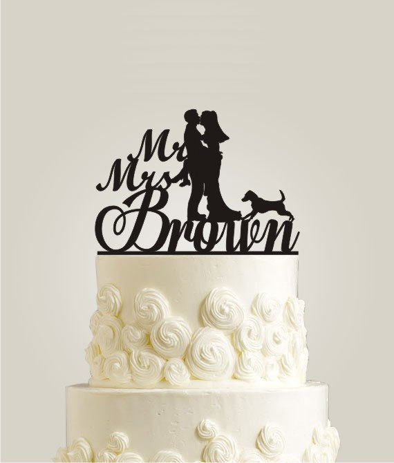 Свадьба - Dog Wedding Cake Topper, Mr and Mrs Wedding Cake Topper, Bride and Groom Wedding Cake Decor, Personalized Name Cake Topper