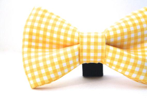 Свадьба - Dog Bow Tie, Yellow Dog Bow Tie, Plaid Bow Tie, Doggie Bow Tie