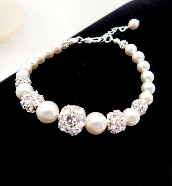 Свадьба - Classic bridal bracelet, wedding bracelet, Pearl bracelet, Swarovski crystal fireballs, Swarovski ivory pearls, wedding jewelry