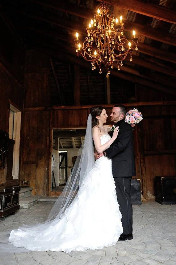 Свадьба - Wendy a Swarovski Crystal Rhinestone Sheer 90 Inch Long Chapel Length Veil
