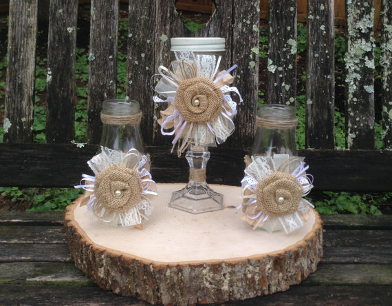 Shabby chic unity sand ceremony set rustic country chic unity sand