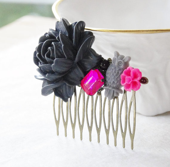 Mariage - Gray Rose Hair Clip / Charcoal Grey Hair Piece  / Gray and Hot Pink Flower Hair Clip / Wedding Hair Piece