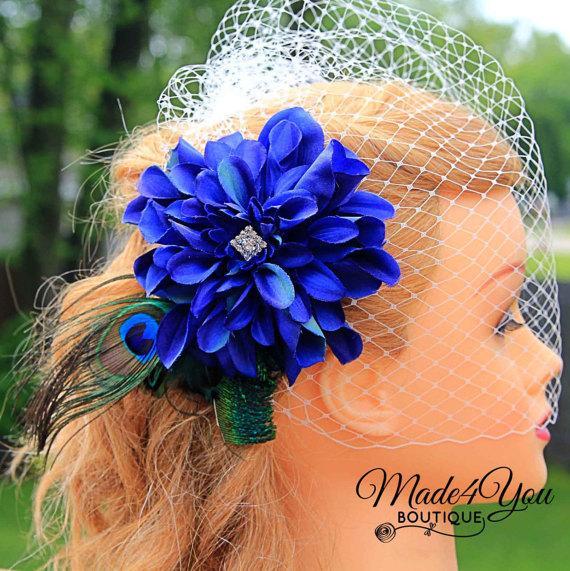 Свадьба - Peacock Blue Birdcage Veil - Peacock Wedding Fascinator - Sapphire Blue Wedding Veil