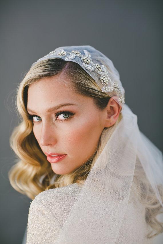 Mariage - Crystal Veil, Juliet Cap Veil, Wedding Veil, Veil, Bridal Cap Veil, Bridal Accessories, Bridal Headpiece, Crystal Vine, Flower Crown #1514