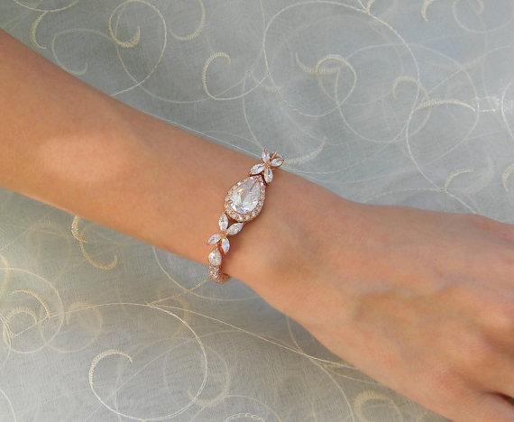 Mariage - Rose Gold Bridal Bracelet, Crystal Wedding bracelet, Swarovski cz, Rose Gold,  Wedding Jewelry, Bridal Jewelry, Rose Gold Ariel Bracelet