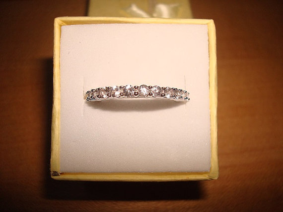 Mariage - Diamond Cut White Sapphire 925 Sterling Silver Half Eternity Engagement Ring Size 5 3/4