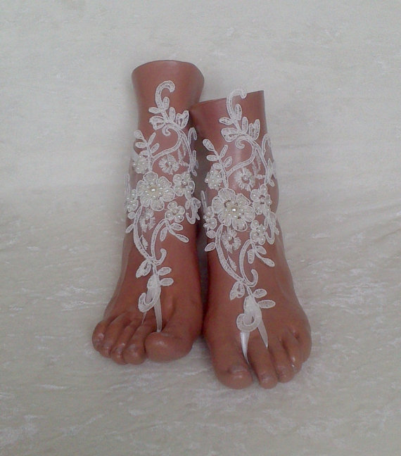 Free Ship Ivory Beach Wedding Barefoot Sandals Shoes Prom Party Steampunk Bangle Anklets Bangles Bridal Bride Bridesmaid