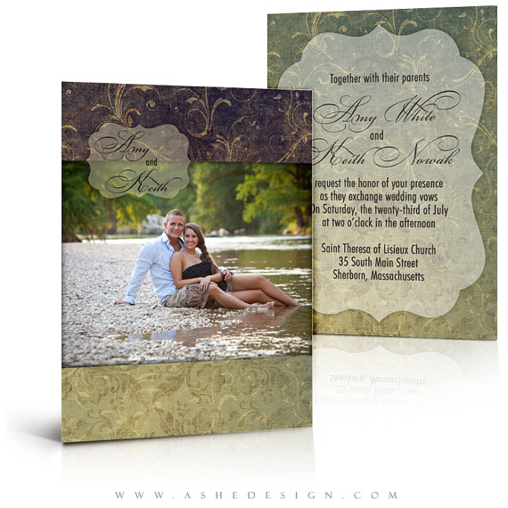 Mariage - WEDDING Invitation Card Templates - FOREVER AFTER - 5x7 Flat Card - (2) Digital Photoshop Templates for Photographers & Scrapbookers.