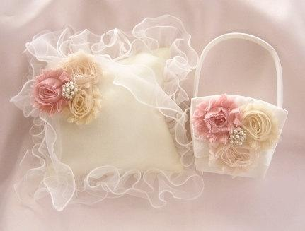 Mariage - Flower Girl Basket, Basket and Pillow -  Peach Rose Blossom Ivory Ring Bearer Pillow, Flower Girl Basket Vintage CUSTOM COLORS