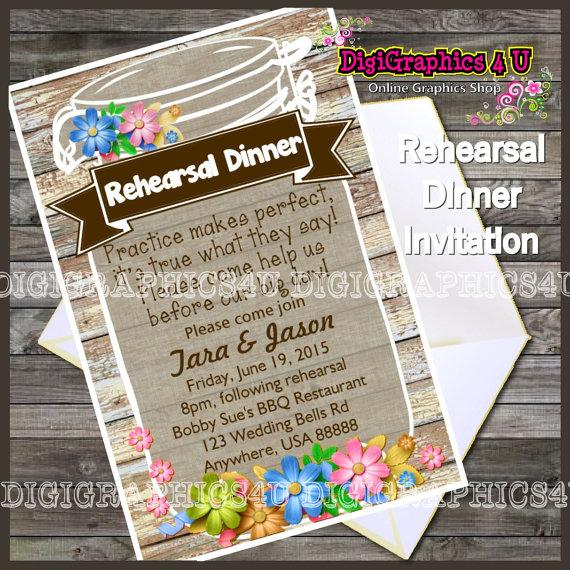 Wedding - Rehearsal Dinner Mason Jar Inspired Wedding Invitation Printable Digital File