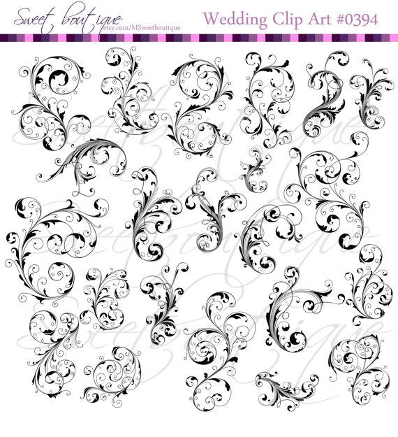 Hochzeit - 22 Flourish Swirls Clip Art Black Floral Flower Leaf Clipart Silhouette Decorative Bridal Shower Designs DIY Invitations 0394