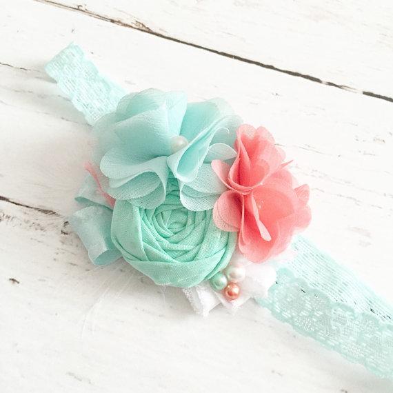 Свадьба - mint seafoam coral white chiffon ruffle headband-wedding flower girl special occasion headband-spring easter summer headband