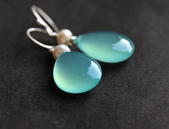 زفاف - Aqua Blue earrings - Pearl earrings - Blue Chalcedony earrings -dangler earring - Gemstone - Bridal earrings