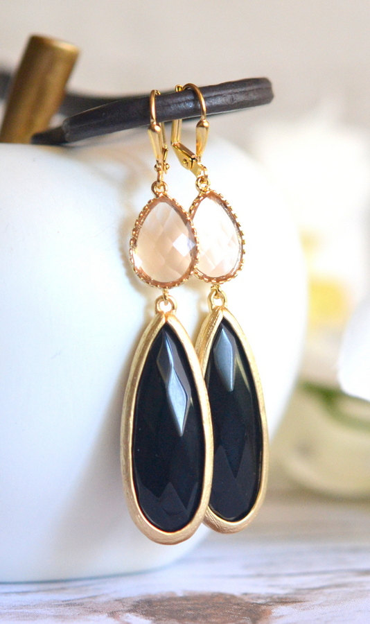 Mariage - Champagne and Black Statement Earrings in Gold. Long Dangle Earrings. Black Dangle Earrings. Bridal Jewelry. Wedding. Gift.