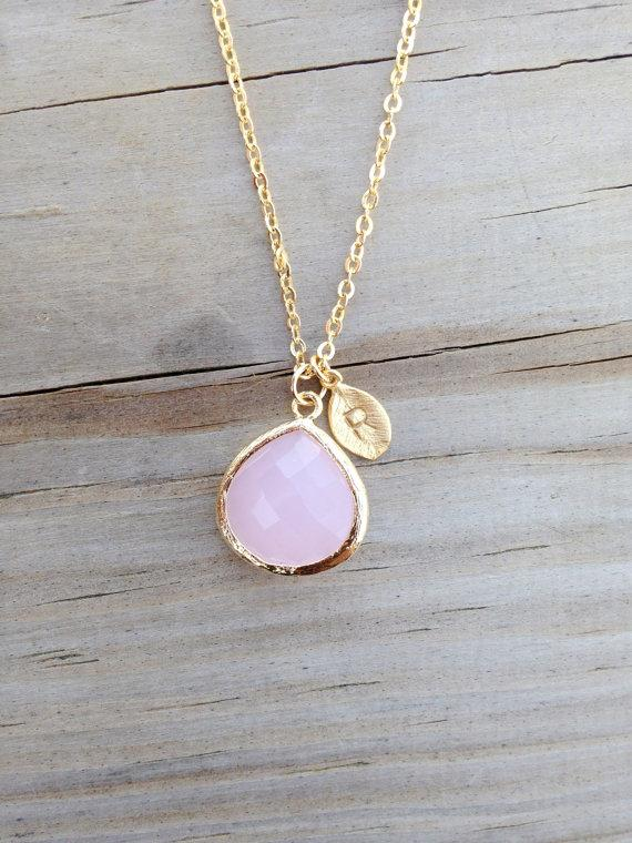 Mariage - 15% OFF Blush Pink Necklace, Bridesmaid Gift, Initial, Personalized Jewelry, Birthstone, Initial, Statement, Bridal Jewelry, Christmas GIFT