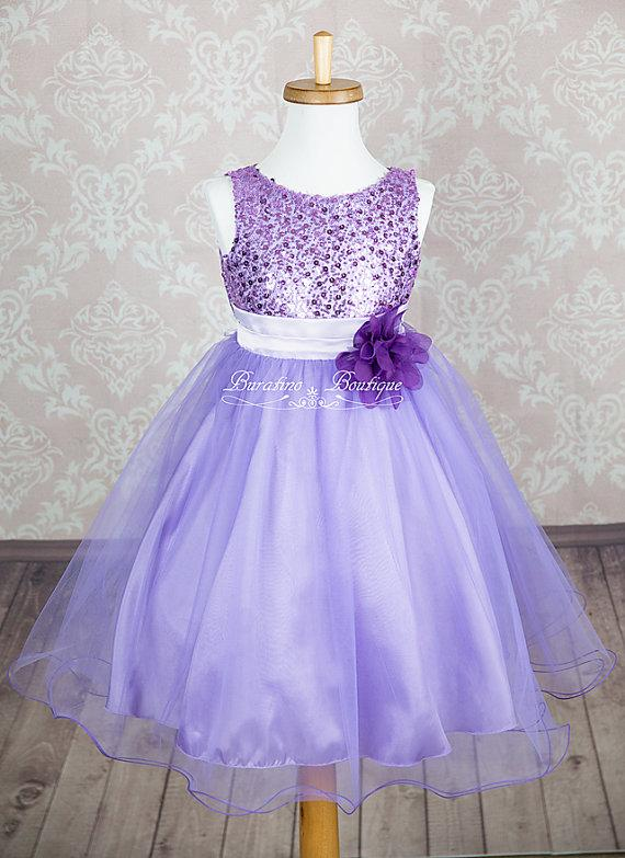 6113a083eae0 Flower Girl Dress Lilac Sequin Double Mesh Flower Girl Toddler Wedding  Special Occasion Dress (ets0155lc)