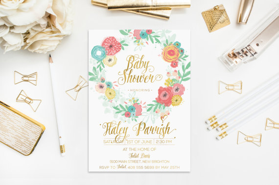 Wedding - Baby Shower Colorful Flower Invitation Gold Foil Digital Personalised Bachelorette Party Wedding Birthday Blue Pink Yellow Wreath 5x7 inches