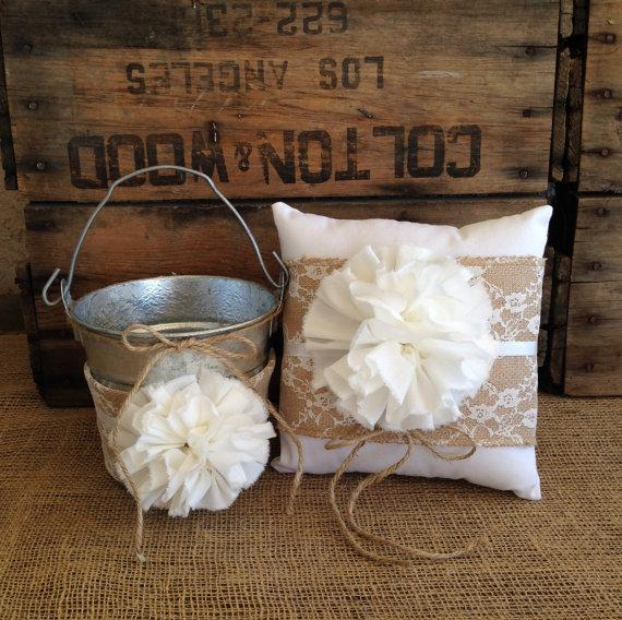 Mariage - Flower Girl Basket Ring Bearer Pillow Set Shabby Chic Wedding Rustic Wedding Burlap and Lace