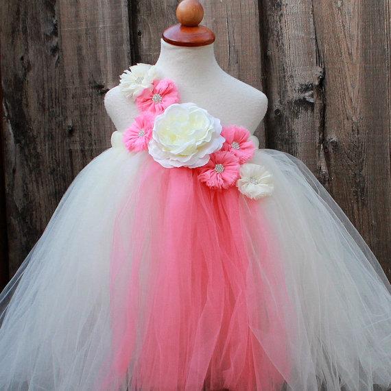 زفاف - Ivory Coral Flower Girl Dress - Ivory Coral wedding - Coral Ivory Dress - Coral flower girl dress - ivory flower girl dress - ivory dress