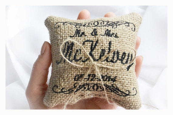 Hochzeit - Personalized Burlap Wedding ring pillow , MR & MRS wedding pillow , ring pillow, ring bearer pillow with Custom embroidery (LR10)