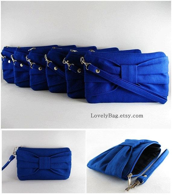 زفاف - SUPER SALE - Set of 3 Royal Blue Bow Clutches - Bridal Clutches, Bridesmaid Clutch, Bridesmaid Wristlet, Wedding Gift - Made To Order