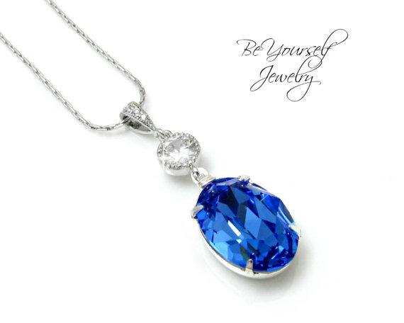 Sapphire Blue Necklace Swarovski Crystal Sapphire Necklace Bridal Silver  Necklace Something Blue Bridesmaid Gift Sparkly Blue Jewelry 4c2c305b7