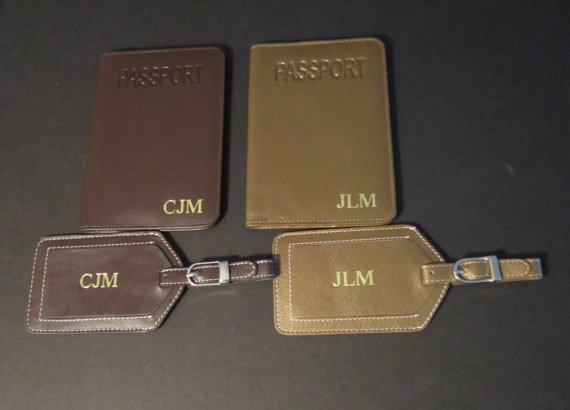 bridal party gifts leather gift for men passport cover  mr and mrs gift his and hers gift