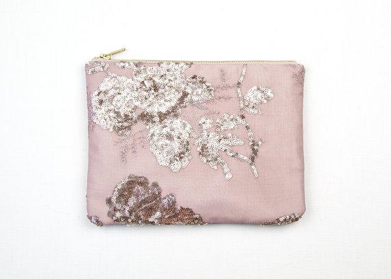 Wedding - VINTAGE ROSE Sequin Clutch. Blush Sequin Clutch. Mauve Wedding Bag. Rose Sequin Pouch.